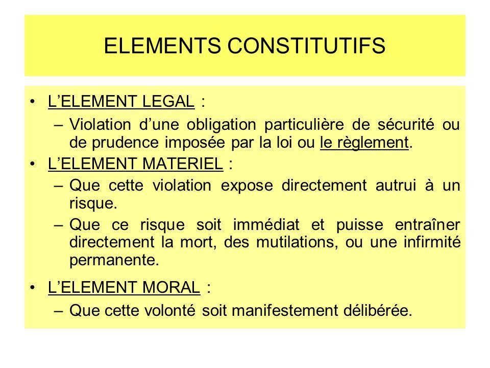 ELEMENTS CONSTITUTIFS LELEMENT LEGAL : –Violation dune obligation particulière de sécurité ou de prudence imposée par la loi ou le règlement. LELEMENT