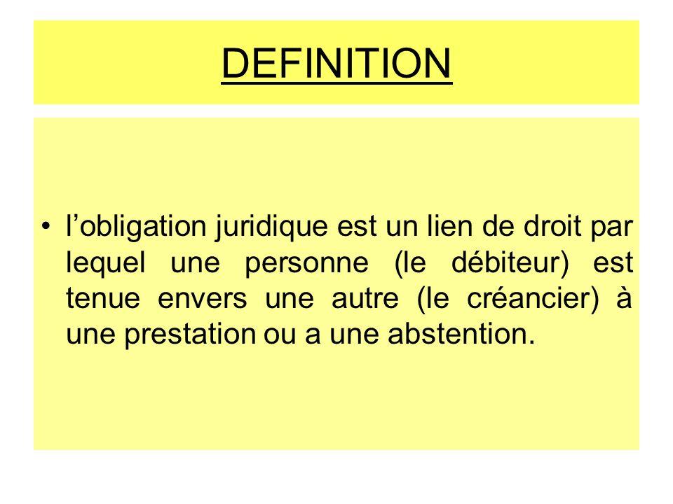 DEFINITION lobligation juridique est un lien de droit par lequel une personne (le débiteur) est tenue envers une autre (le créancier) à une prestation