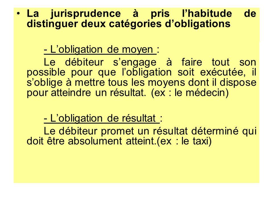 La jurisprudence à pris lhabitude de distinguer deux catégories dobligations - Lobligation de moyen : Le débiteur sengage à faire tout son possible po