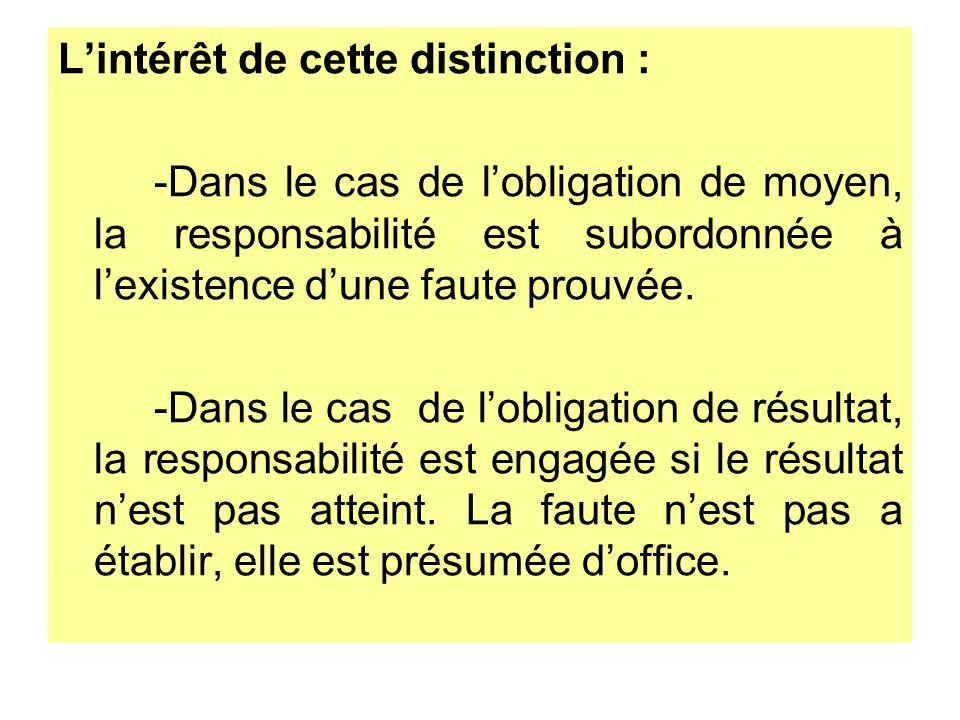 Lintérêt de cette distinction : -Dans le cas de lobligation de moyen, la responsabilité est subordonnée à lexistence dune faute prouvée. -Dans le cas