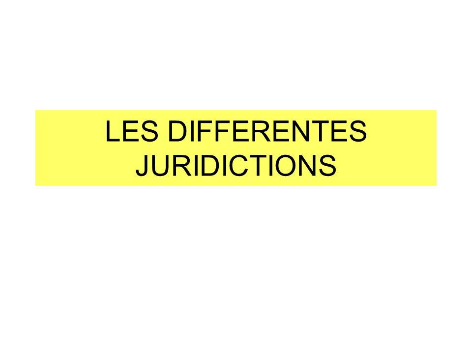 LES DIFFERENTES JURIDICTIONS
