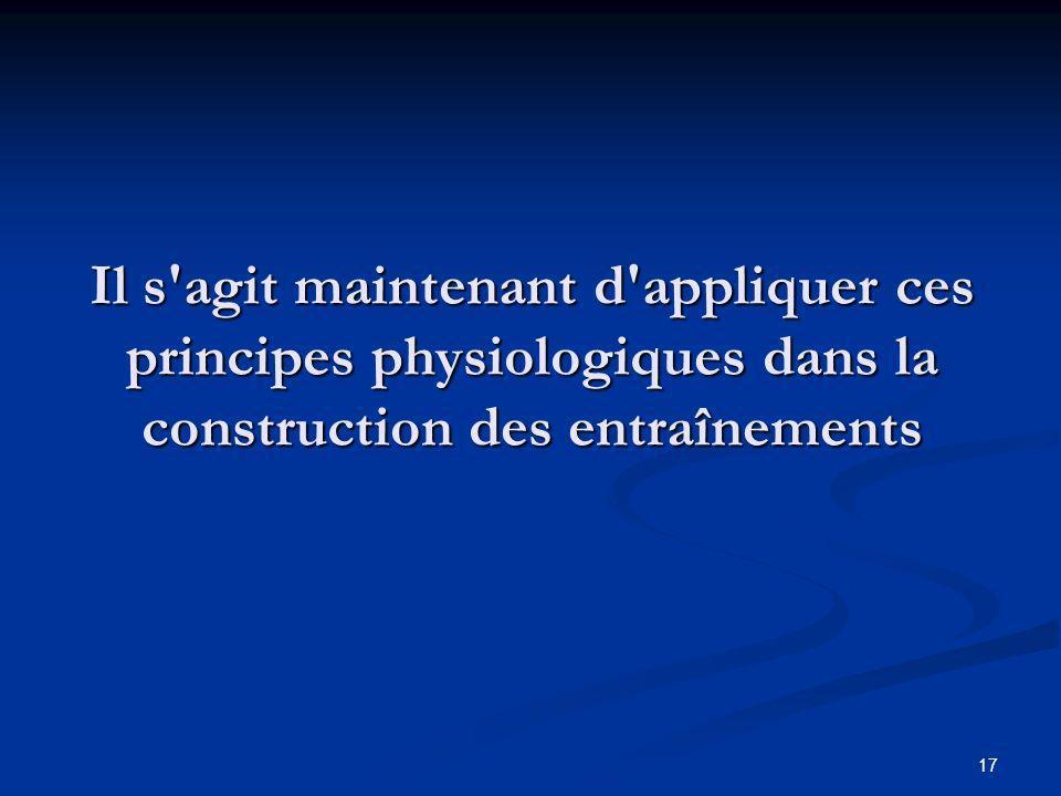 17 Il s'agit maintenant d'appliquer ces principes physiologiques dans la construction des entraînements