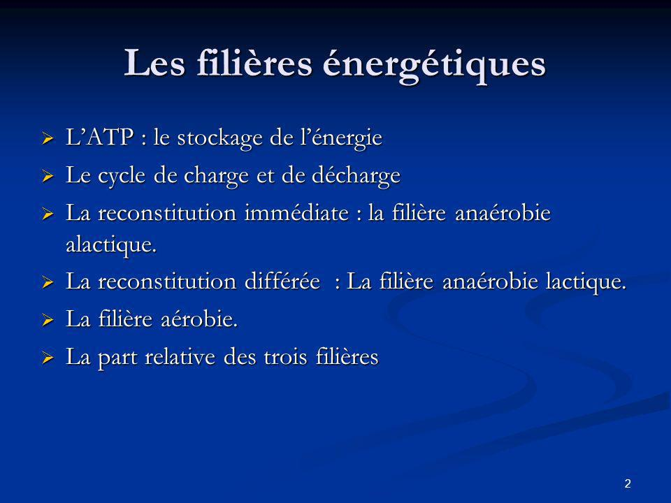 13 La filière aérobie Utilisation des Hydrogènes produits Chaîne respiratoire Transporteurs Glycolyse Cycle de KREBS H Energie 36 ATP H O2O2 H2OH2O Respiration