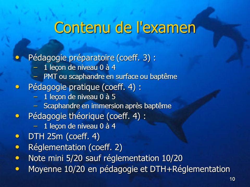 10 Contenu de l'examen Pédagogie préparatoire (coeff. 3) : Pédagogie préparatoire (coeff. 3) : –1 leçon de niveau 0 à 4 –PMT ou scaphandre en surface