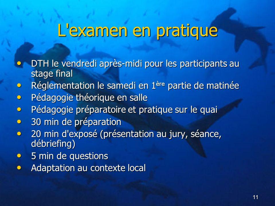 11 L'examen en pratique DTH le vendredi après-midi pour les participants au stage final DTH le vendredi après-midi pour les participants au stage fina