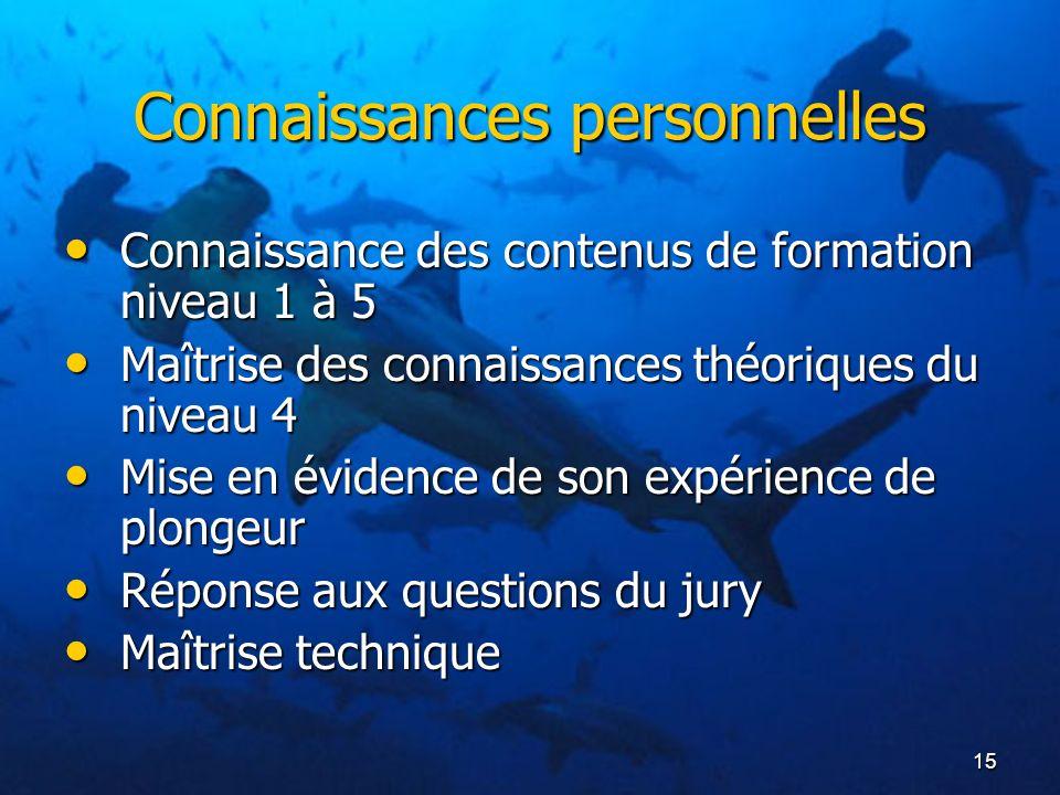15 Connaissances personnelles Connaissance des contenus de formation niveau 1 à 5 Connaissance des contenus de formation niveau 1 à 5 Maîtrise des con