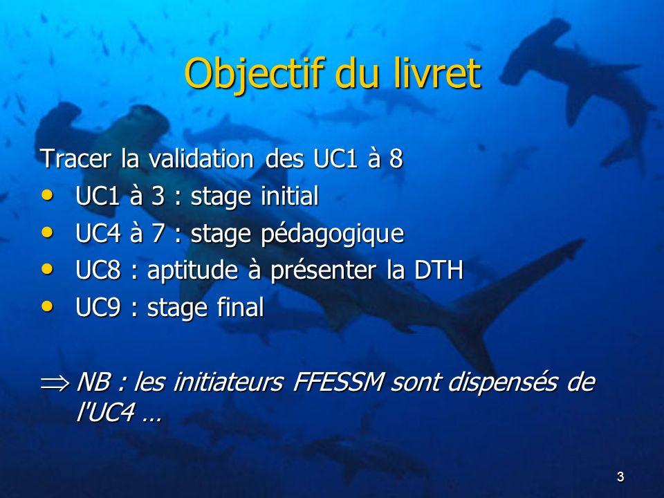 3 Objectif du livret Tracer la validation des UC1 à 8 UC1 à 3 : stage initial UC1 à 3 : stage initial UC4 à 7 : stage pédagogique UC4 à 7 : stage péda