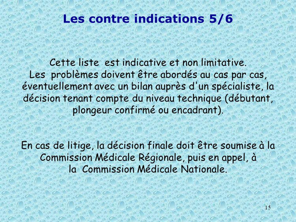 15 Les contre indications 5/6 Cette liste est indicative et non limitative. Les problèmes doivent être abordés au cas par cas, éventuellement avec un