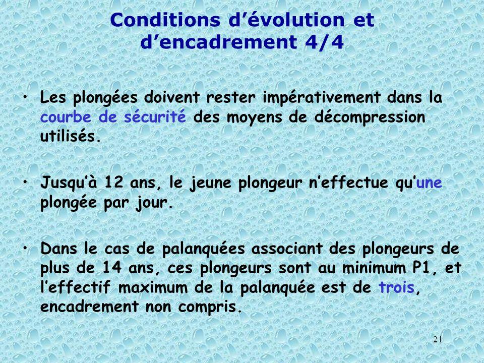 21 Conditions dévolution et dencadrement 4/4 Les plongées doivent rester impérativement dans la courbe de sécurité des moyens de décompression utilisé