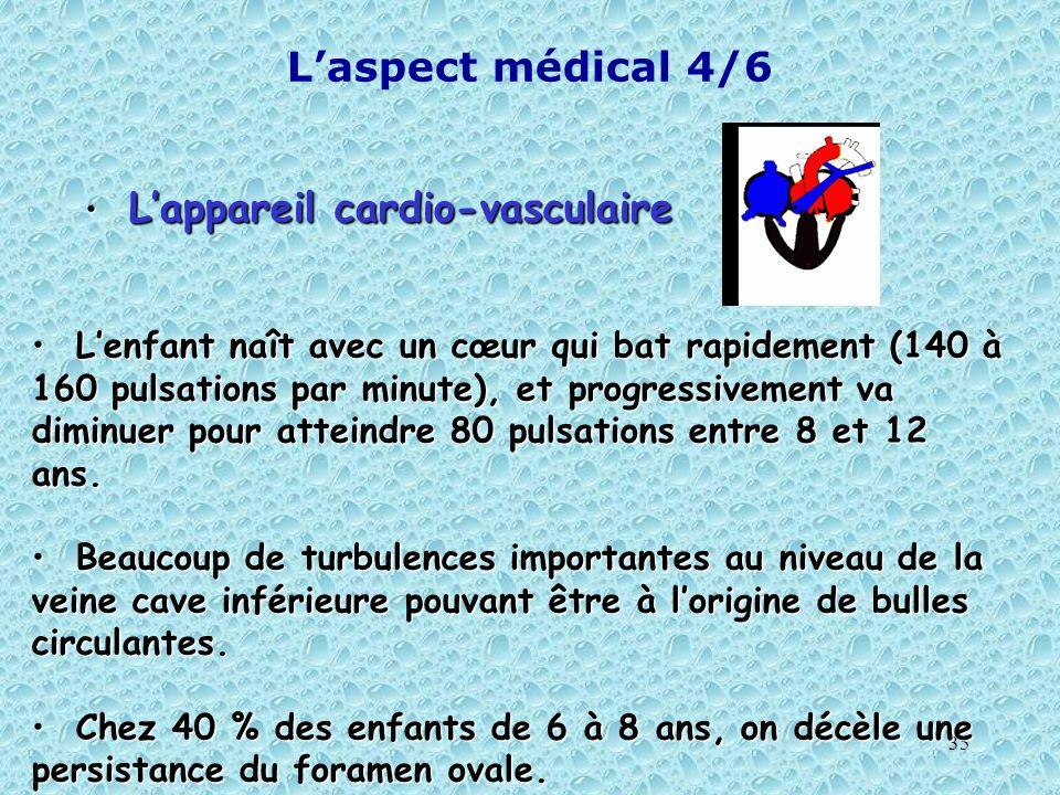 35 Laspect médical 4/6 Lappareil cardio-vasculaire Lappareil cardio-vasculaire Lenfant naît avec un cœur qui bat rapidement (140 à 160 pulsations par