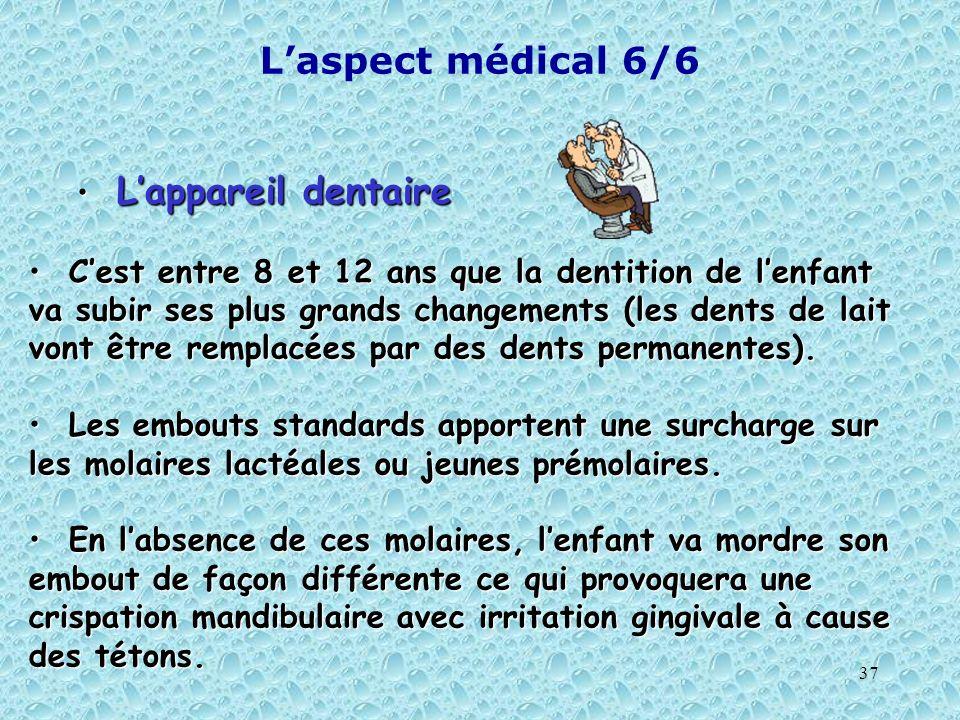 37 Laspect médical 6/6 Lappareil dentaire Lappareil dentaire Cest entre 8 et 12 ans que la dentition de lenfant va subir ses plus grands changements (
