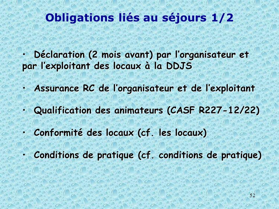 52 Obligations liés au séjours 1/2 Déclaration (2 mois avant) par lorganisateur et par lexploitant des locaux à la DDJS Déclaration (2 mois avant) par