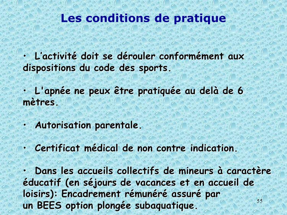 55 Les conditions de pratique Lactivité doit se dérouler conformément aux dispositions du code des sports. Lactivité doit se dérouler conformément aux