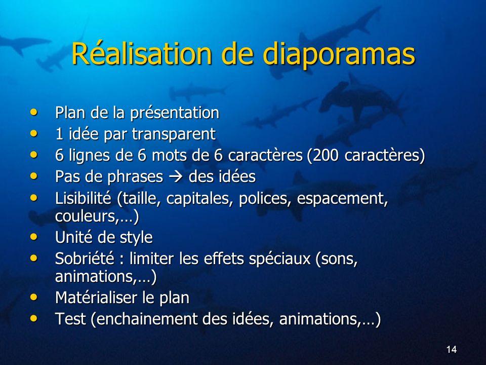 14 Réalisation de diaporamas Plan de la présentation Plan de la présentation 1 idée par transparent 1 idée par transparent 6 lignes de 6 mots de 6 car