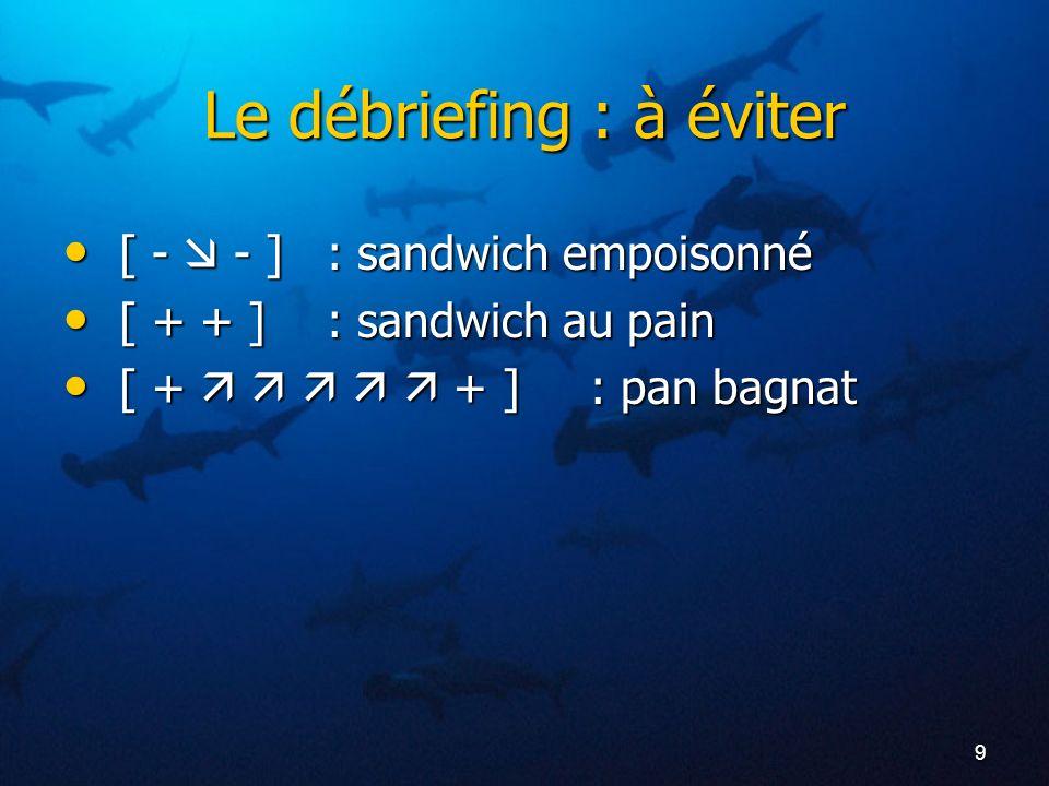 9 Le débriefing : à éviter [ - - ]: sandwich empoisonné [ - - ]: sandwich empoisonné [ + + ]: sandwich au pain [ + + ]: sandwich au pain [ + + ]: pan