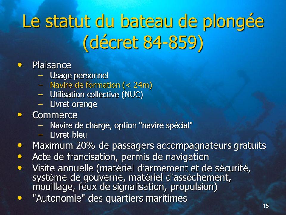 15 Le statut du bateau de plongée (décret 84-859) Plaisance Plaisance –Usage personnel –Navire de formation (< 24m) –Utilisation collective (NUC) –Liv