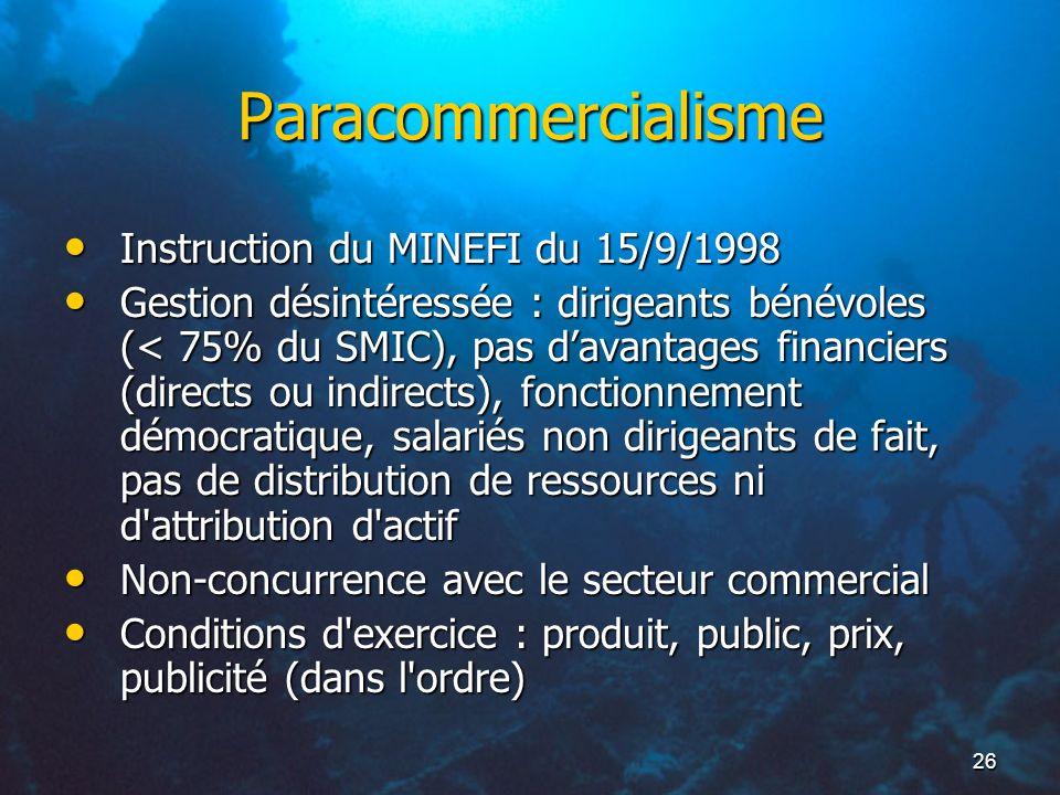 26 Paracommercialisme Instruction du MINEFI du 15/9/1998 Instruction du MINEFI du 15/9/1998 Gestion désintéressée : dirigeants bénévoles (< 75% du SMI