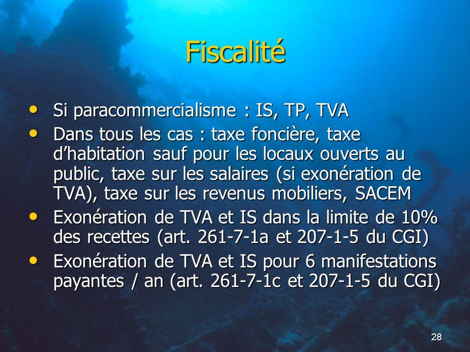 28 Fiscalité Si paracommercialisme : IS, TP, TVA Si paracommercialisme : IS, TP, TVA Dans tous les cas : taxe foncière, taxe dhabitation sauf pour les