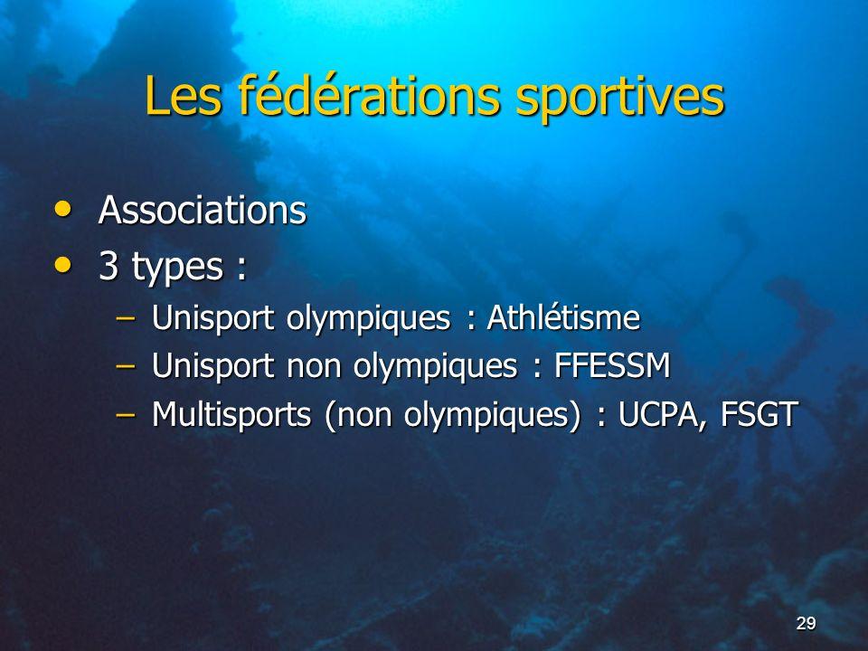 29 Les fédérations sportives Associations Associations 3 types : 3 types : –Unisport olympiques : Athlétisme –Unisport non olympiques : FFESSM –Multis