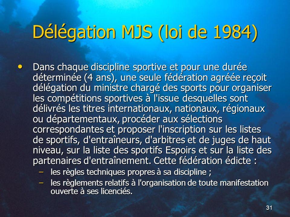 31 Délégation MJS (loi de 1984) Dans chaque discipline sportive et pour une durée déterminée (4 ans), une seule fédération agréée reçoit délégation du