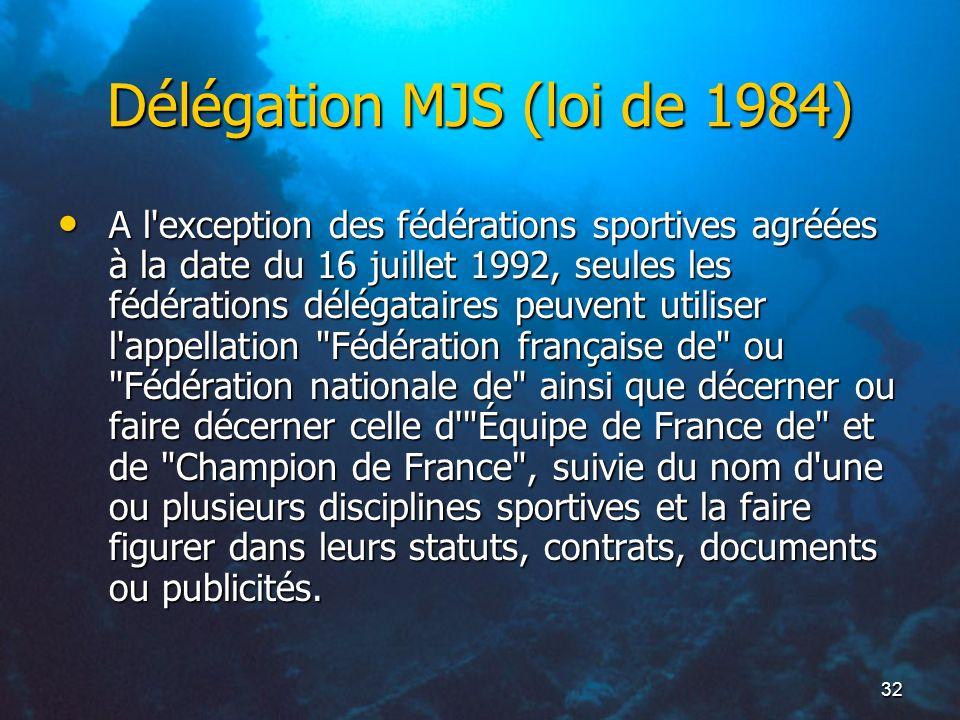 32 Délégation MJS (loi de 1984) A l'exception des fédérations sportives agréées à la date du 16 juillet 1992, seules les fédérations délégataires peuv