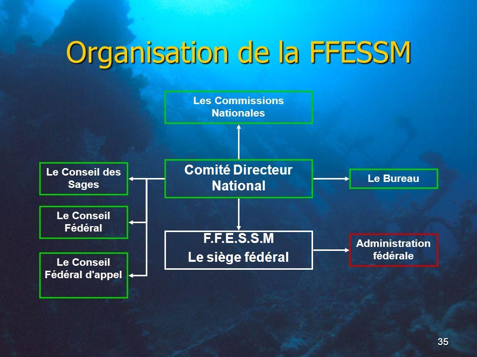 35 Organisation de la FFESSM Comité Directeur National F.F.E.S.S.M Le siège fédéral Le BureauLe Conseil des Sages Administration fédérale Les Commissi