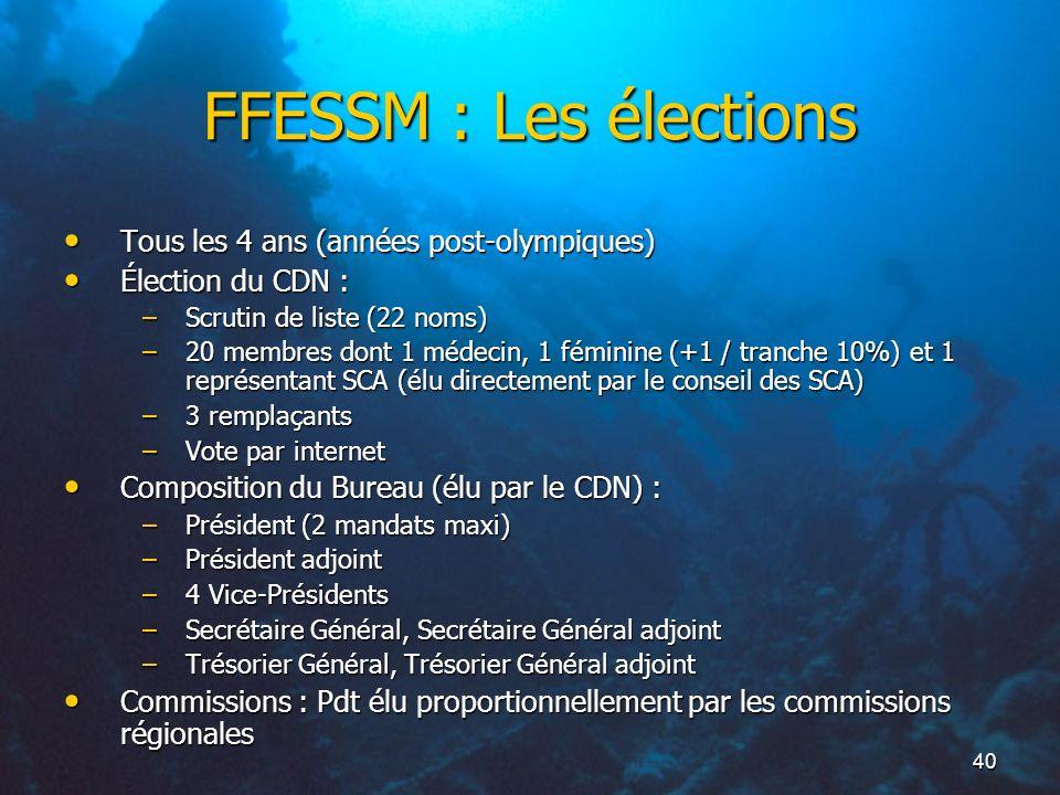 40 FFESSM : Les élections Tous les 4 ans (années post-olympiques) Tous les 4 ans (années post-olympiques) Élection du CDN : Élection du CDN : –Scrutin