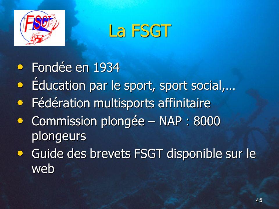 45 La FSGT Fondée en 1934 Fondée en 1934 Éducation par le sport, sport social,… Éducation par le sport, sport social,… Fédération multisports affinita