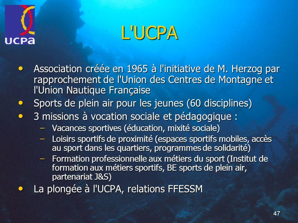 47 L'UCPA Association créée en 1965 à l'initiative de M. Herzog par rapprochement de l'Union des Centres de Montagne et l'Union Nautique Française Ass
