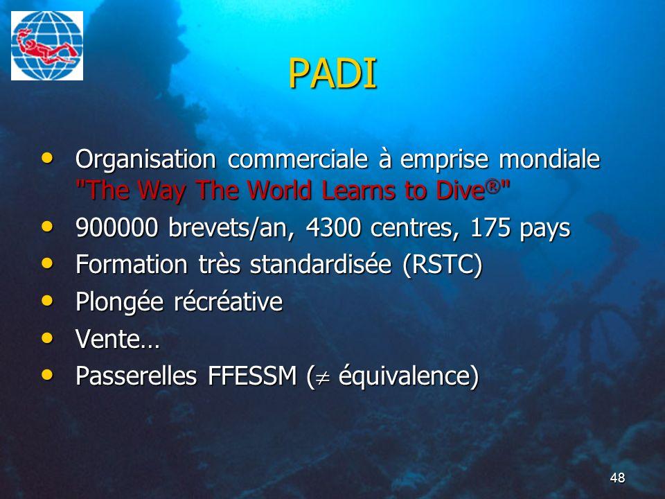 48 PADI Organisation commerciale à emprise mondiale