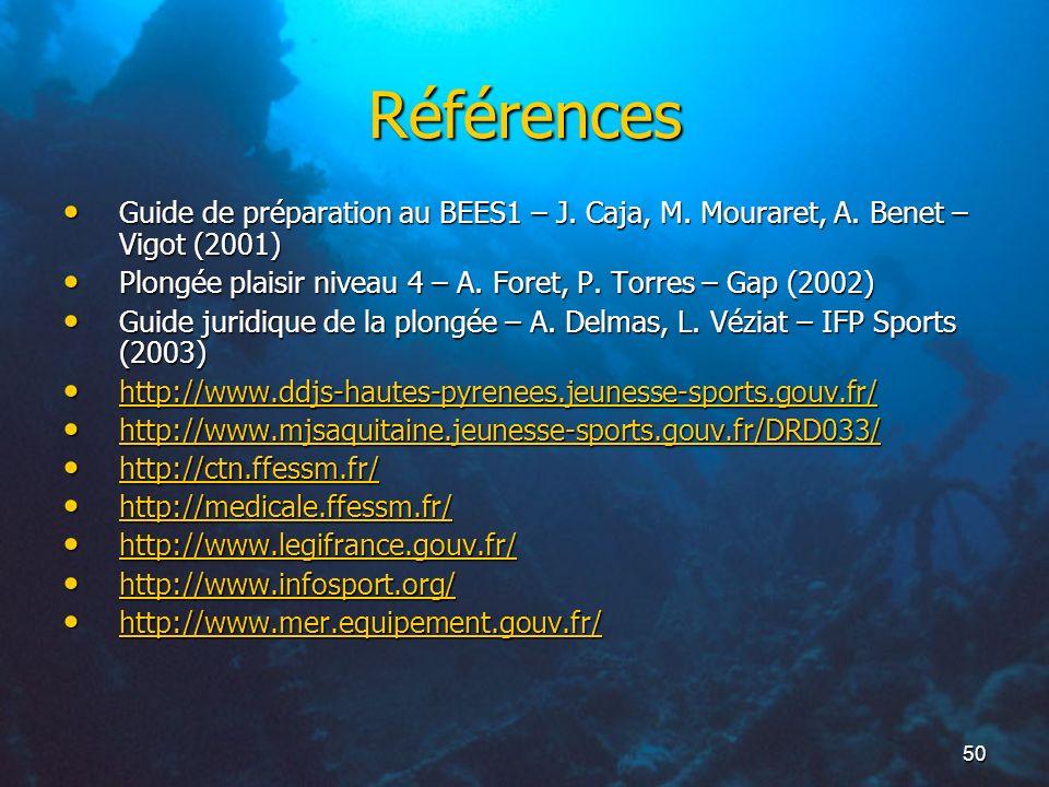 50 Références Guide de préparation au BEES1 – J. Caja, M. Mouraret, A. Benet – Vigot (2001) Guide de préparation au BEES1 – J. Caja, M. Mouraret, A. B