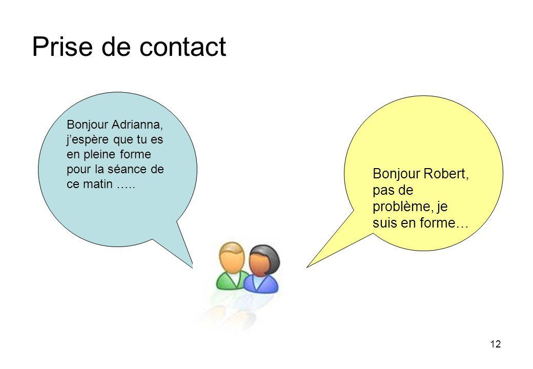 12 Prise de contact Bonjour Adrianna, jespère que tu es en pleine forme pour la séance de ce matin …..