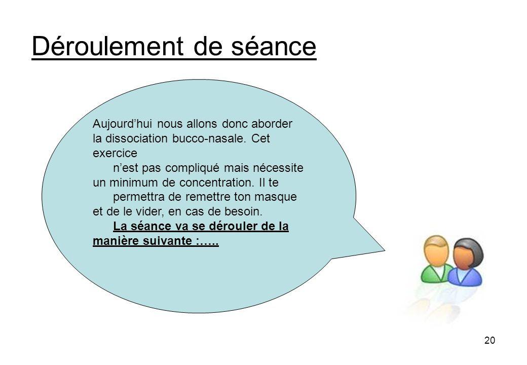 20 Déroulement de séance Aujourdhui nous allons donc aborder la dissociation bucco-nasale.