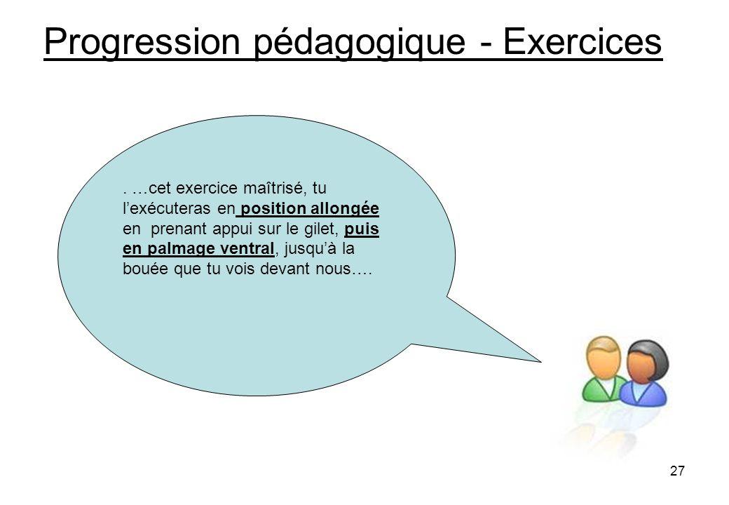 27 Progression pédagogique - Exercices.