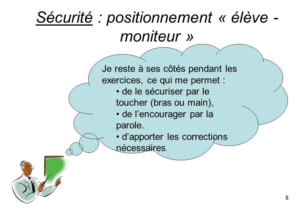 8 Sécurité : positionnement « élève - moniteur » Je reste à ses côtés pendant les exercices, ce qui me permet : de le sécuriser par le toucher (bras ou main), de lencourager par la parole.