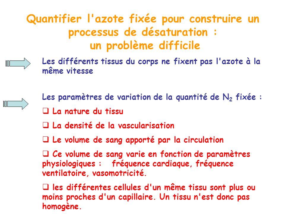 Quantifier l'azote fixée pour construire un processus de désaturation : un problème difficile Les différents tissus du corps ne fixent pas l'azote à l