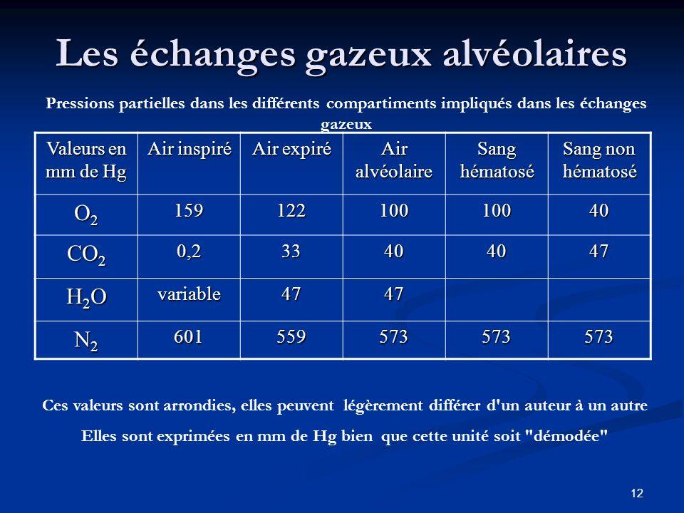 12 Les échanges gazeux alvéolaires Valeurs en mm de Hg Air inspiré Air expiré Air alvéolaire Sang hématosé Sang non hématosé O2O2O2O215912210010040 CO