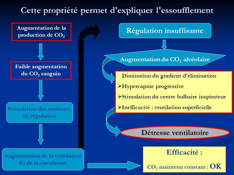 17 Cette propriété permet d'expliquer l'essoufflement Augmentation de la production de CO 2 Faible augmentation du CO 2 sanguin Stimulation des systèm