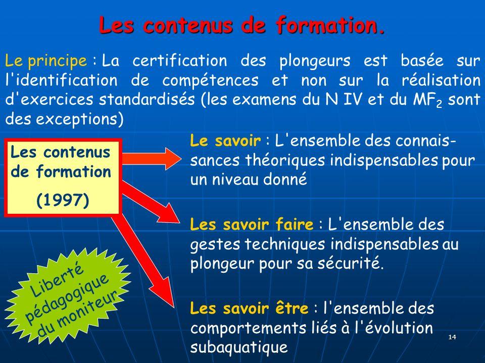 14 Les contenus de formation. Le principe : La certification des plongeurs est basée sur l'identification de compétences et non sur la réalisation d'e