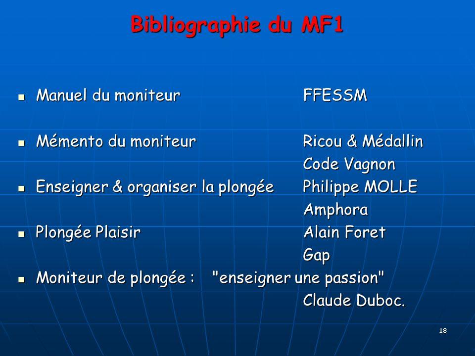 18 Bibliographie du MF1 Manuel du moniteurFFESSM Mémento du moniteurRicou & Médallin Code Vagnon Enseigner & organiser la plongéePhilippe MOLLE Amphor