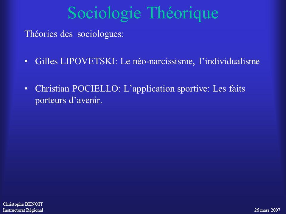 Christophe BENOIT Instructorat Régional 26 mars 2007 Sociologie Théorique Théories des sociologues: Gilles LIPOVETSKI: Le néo-narcissisme, lindividual