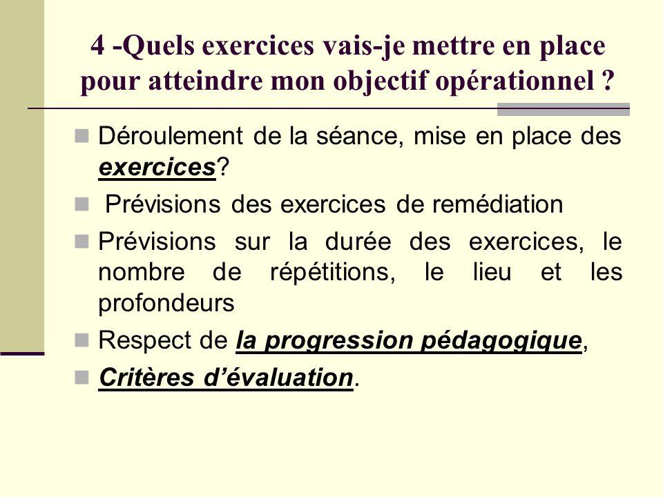 4 -Quels exercices vais-je mettre en place pour atteindre mon objectif opérationnel ? Déroulement de la séance, mise en place des exercices? Prévision