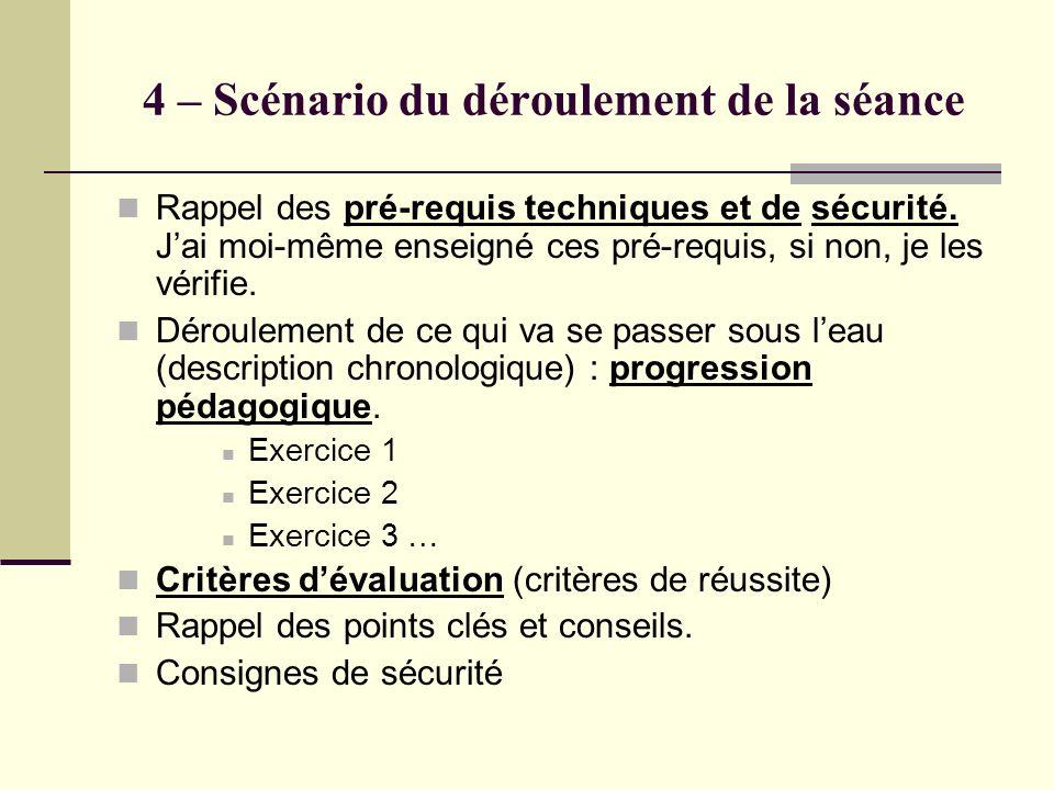 4 – Scénario du déroulement de la séance Rappel des pré-requis techniques et de sécurité. Jai moi-même enseigné ces pré-requis, si non, je les vérifie