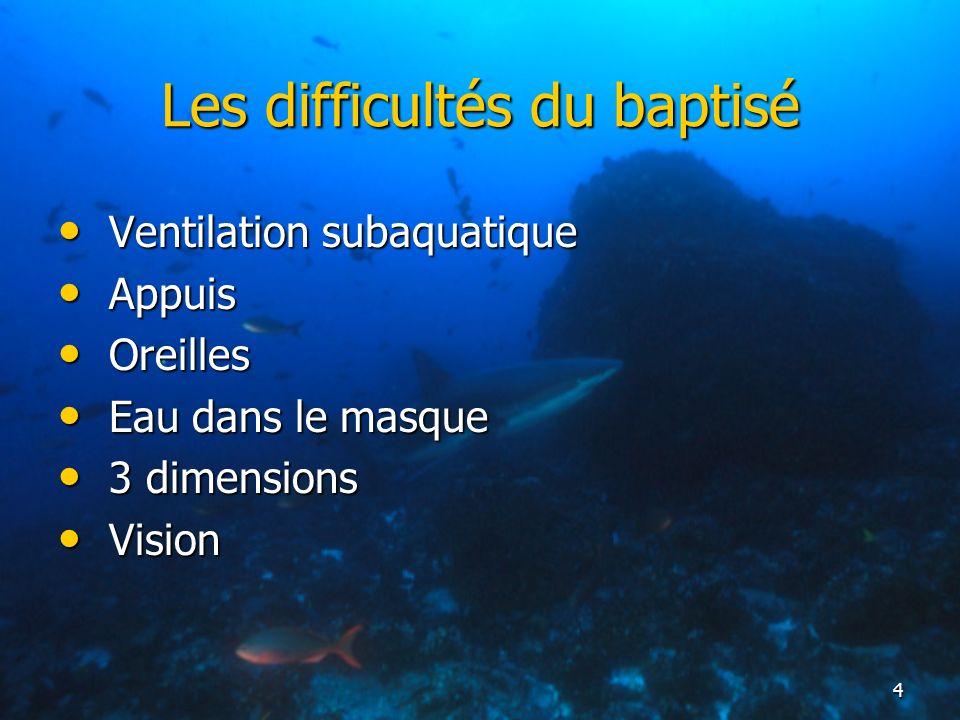 4 Les difficultés du baptisé Ventilation subaquatique Ventilation subaquatique Appuis Appuis Oreilles Oreilles Eau dans le masque Eau dans le masque 3