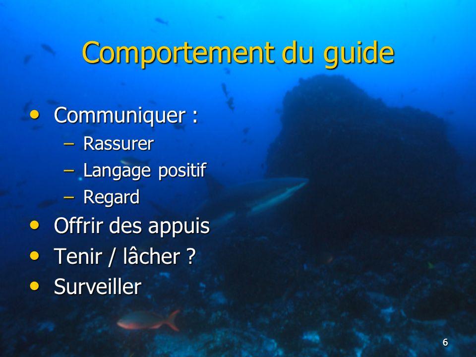 6 Comportement du guide Communiquer : Communiquer : –Rassurer –Langage positif –Regard Offrir des appuis Offrir des appuis Tenir / lâcher ? Tenir / lâ