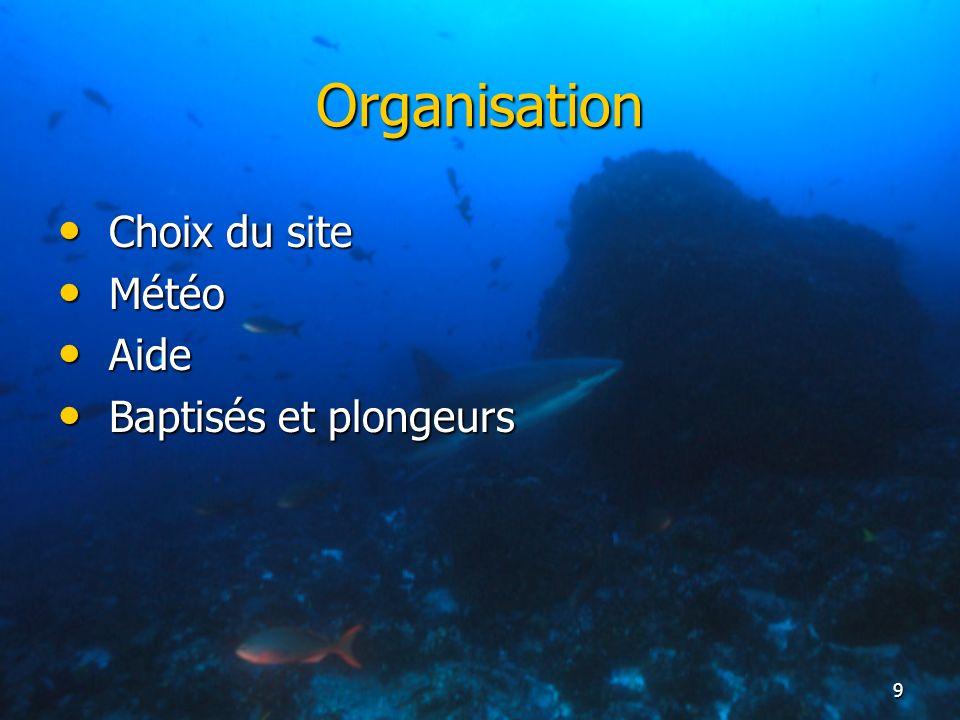 9 Organisation Choix du site Choix du site Météo Météo Aide Aide Baptisés et plongeurs Baptisés et plongeurs