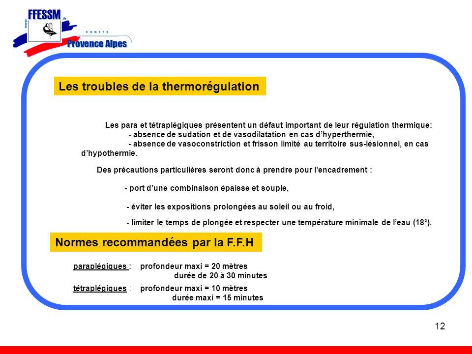 12 Les troubles de la thermorégulation Les para et tétraplégiques présentent un défaut important de leur régulation thermique: - absence de sudation e