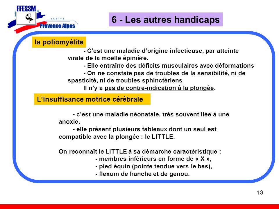 13 6 - Les autres handicaps la poliomyélite - Cest une maladie dorigine infectieuse, par atteinte virale de la moelle épinière. - Elle entraîne des dé