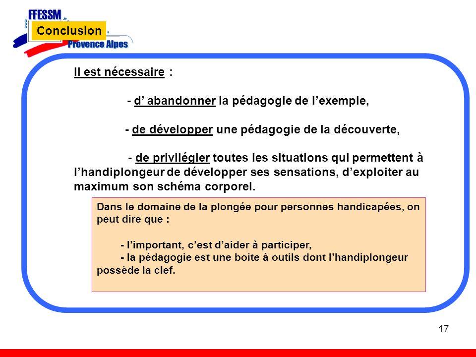 17 Conclusion Il est nécessaire : - d abandonner la pédagogie de lexemple, - de développer une pédagogie de la découverte, - de privilégier toutes les