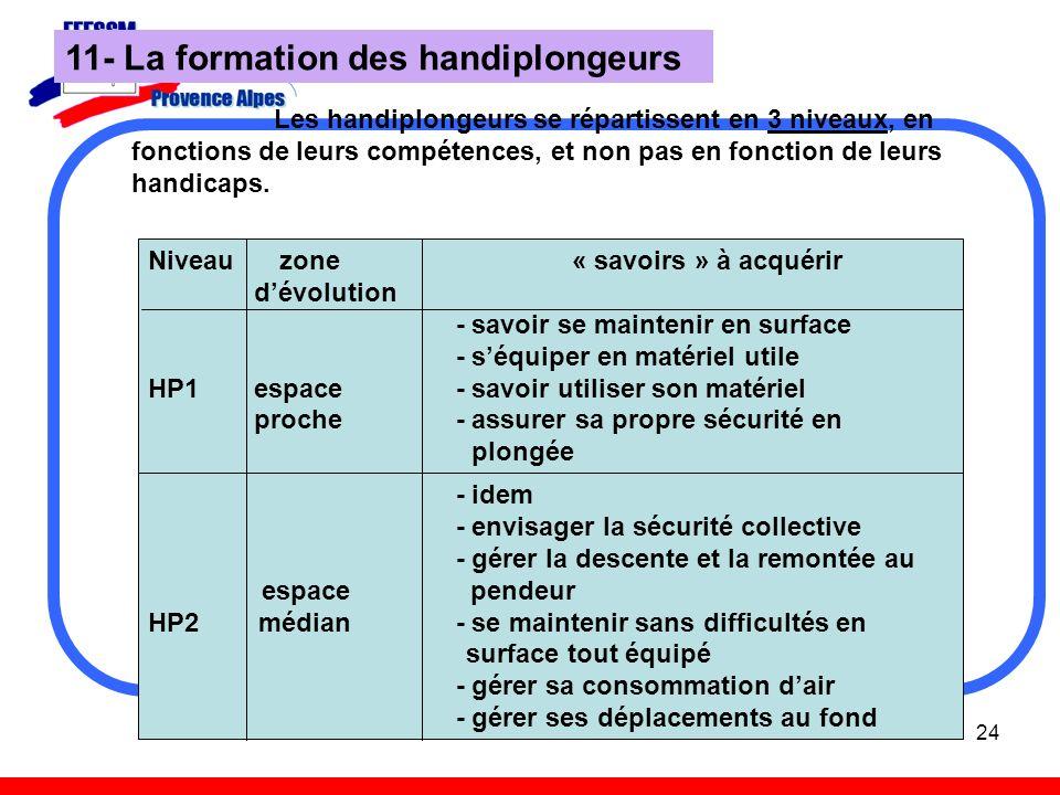 24 Les handiplongeurs se répartissent en 3 niveaux, en fonctions de leurs compétences, et non pas en fonction de leurs handicaps. 11- La formation des